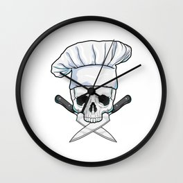Skull with Chef hat & Knife Wall Clock
