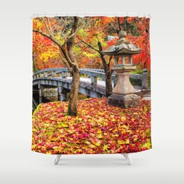 Awesome Ancient Chinese Stone Bridge At Autumn In Nature Park Ultra HD Shower Curtain