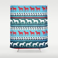 sweater Shower Curtains featuring Sweater Unicorn by That's So Unicorny