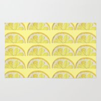 lemon Area & Throw Rugs featuring Lemon by krrstnn