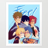 iwatobi Art Prints featuring 2nd season by JohannaTheMad