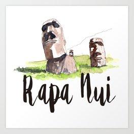 Rapa Nui watercolor Art Print