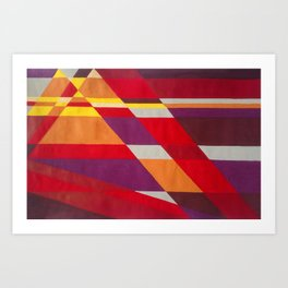 Mountains 2.0 - Retro 70s abstract line art in warm hues Art Print