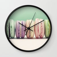 macaron Wall Clocks featuring Macaron Row by Tiny Deer Studio