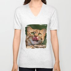 RUSTY SPOTTED CAT LICK Unisex V-Neck