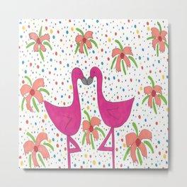 Floral Flamingo Fiesta Metal Print