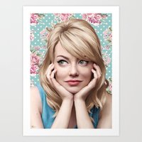 emma stone Art Prints featuring EMMA STONE by FISHNONES