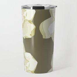 Brown,White Roses Travel Mug