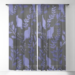 Watercolor Floral and Cat Sheer Curtain