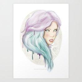 Green hair Art Print