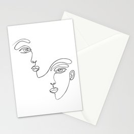 Faces one line minimalist drawing on white Stationery Cards