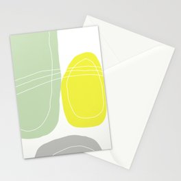 Yellow and Green Abstract Art. Scandinavian Style Decor. Minimalist Decor Stationery Cards