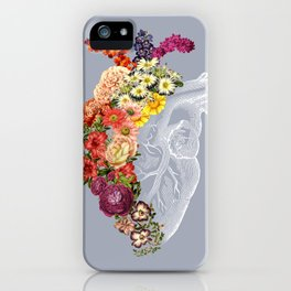 Flower Heart Spring Light Grey iPhone Case
