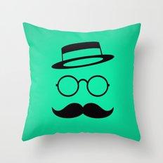 Retro / Minimal vintage face with Moustache & Glasses Throw Pillow
