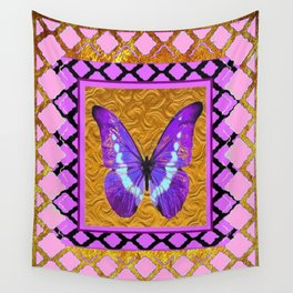 Delicate Shimmering Purple Butterfly Pink-Golden Patterns. Wall Tapestry