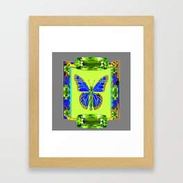 BLUE & GREEN  BUTTERFLY PERIDOT GEMMED GEOMETRIC Framed Art Print