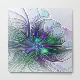 Floral Energy Colorful Abstract Fractal Art Flower Metal Print