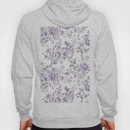 FLORAL VINTAGE ROSES MAUVE WHITE Hoody