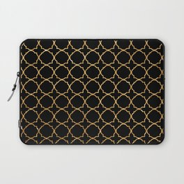 Elegant black faux gold glitter chic quatrefoil vector illustration Laptop Sleeve
