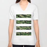 camo V-neck T-shirts featuring Camo by angelasoto