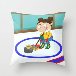Winter Sports: Curling Throw Pillow