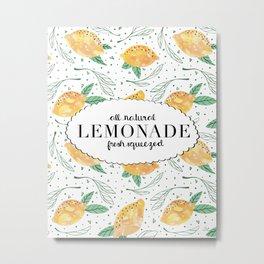 Lemonlicious Lemon Pattern Metal Print