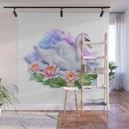 Watercolor Lotus Swan Wall Mural