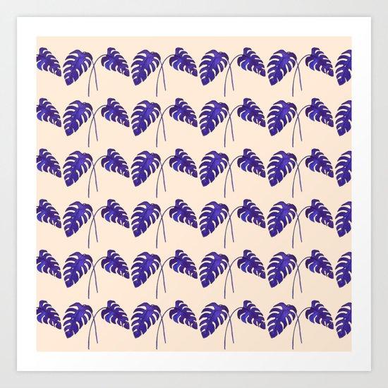 Indigo Monstera Leaf Watercolor on Blush Art Print
