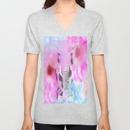 ELEPHANT and DASIES Unisex V-Neck