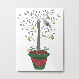 12 Days of Christmas Partridge in a Pear Tree Metal Print