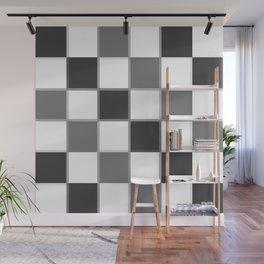 Slate & Gray Checkers / Checkerboard Wall Mural