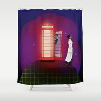 community Shower Curtains featuring Community Inspector Spacetime  by Leslie Prongué