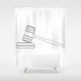 Judges Gravel Line Drawing Shower Curtain