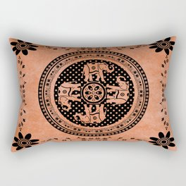 Indian Elephant Floral Hippie Bohemian Design On Orange Rectangular Pillow
