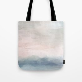 Blush Pink Mint Sky Baby Blue Abstract Ocean Sky Sunrise Wall Art, Water Clouds Painting Tote Bag