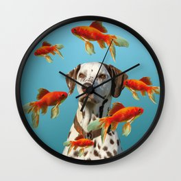 Dalmatian Dog with goldfishes Wall Clock