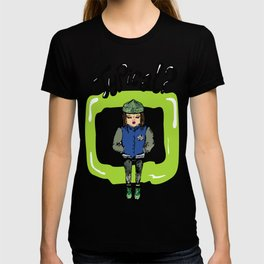 Illustration for t-shirt with girl in sneakers and college jacket T-shirt