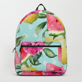 Pattern watermelon, lemons and tropical flowers Backpack