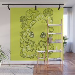 Happy Octopus Squid Kraken Cthulhu Sea Creature - Lime Punch Green Wall Mural