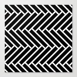 Black and white herringbone pattern Canvas Print
