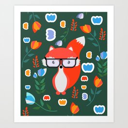 Fox with glasses and flowers Art Print