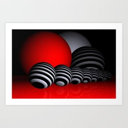 round and red and white and black Art Print