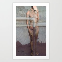 Nude in the chapped wall Art Print