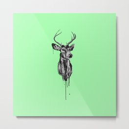 Deer Head III (mint green) Metal Print