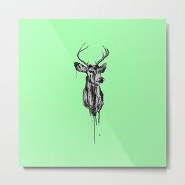 Deer Head III (mint green) Metal Print