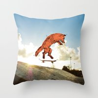 skateboard Throw Pillows featuring Skateboard FOX! by Jesse Robinson Williams