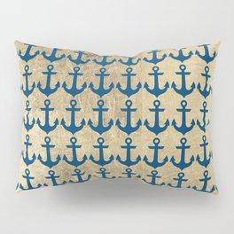 Nautical navy blue faux gold modern anchor pattern Pillow Sham