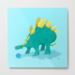 Stegosaurus and his Ball Metal Print
