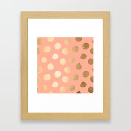 Sweet Life Polka Dots Peach Coral + Orange Sherbet Shimmer Framed Art Print