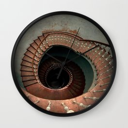 Vintage spiral staircase with ornamented handrail Wall Clock